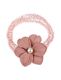 Elegant Pink Pearls&beads Decorated Flower Design Double Layer Bracelet