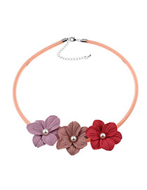 Fashion Multi-color Pearls&flowers Decorated Color Matching Design Choker