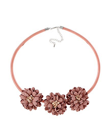 Fashion Pink Three Flowers Decorated Pure Color Design Simple Necklace