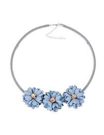Fashion Blue Three Flowers Decorated Pure Color Design Simple Necklace