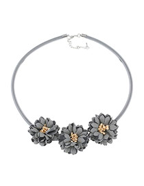 Fashion Gray Three Flowers Decorated Pure Color Design Simple Necklace