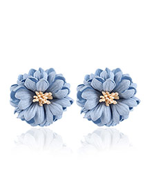 Fashion Blue Flower Decorated Pure Color Design Simple Earrings