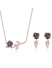 Fashion Rose Gold Diamond Decorated Flower Shape Design Simple Jewelry Sets