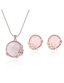 Fashion Rose Gold Round Shape Diamond Decorated Angel Shape Design Jewelry Sets