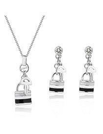 Fashion White Key&lock Pendant Decorated Pure Color Design Jewelry Sets