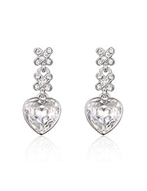 Fashion Silver Color Heart Pendant Decorated Pure Color Simple Earrings