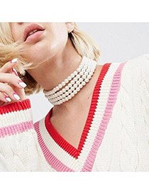 Fashion White Pearls Decorated Multi-layer Pure Color Choker