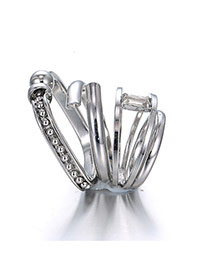 Fashion Silver Color Diamond Decorated Pure Color Design Ring (4pcs)
