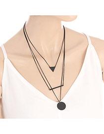 Fashion Black Round Shape Pendant Decorated Multi-layer Necklace