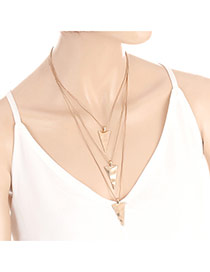 Fashion Gold Color Triangle Shape Pendant Decorated Multi-layer Necklace