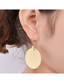 Personalized Gold Color Oval Shape Pendant Decorated Pure Color Design Earrings