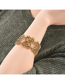 Fashion Gold Color Flower Decorated Hollow Out Pure Color Bracelet
