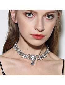 Fashion Silver Color Diamond&pearl Decorated Double Layer Necklace