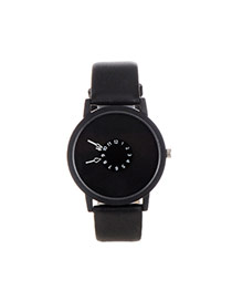 Fashion Black Color Matching Decorated Round Dial Design Watch