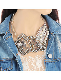 Fashion Silver Color Butterfly Decorated Pure Color Desgin Necklace