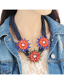 Fashion Multi-color Oval Shape Diamond Decorated Flower Shape Necklace