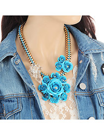 Fashion Blue Flower Decorated Color Matching Design Necklace