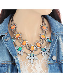 Fashion Multi-color Oval Shape Diamond Decorated Double Layer Necklace