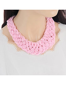 Fashion Pink Pure Color Decorated Hand-woven Simple Beads Necklace