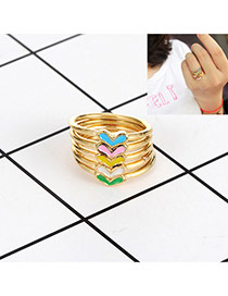 Fashion Gold Color Heart Shape Decorated Color Matching Simple Ring(5pc)