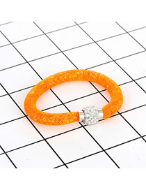 Fashion Orange Diamond Decorated Pure Color Simple Bracelet