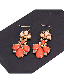 Fashion Red Water Drop Shape Diamond Decorared Color Matching Earrings