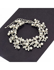 Fashion Silver Color Pearls&diamonds Decorated Pure Color Simple Bracelet