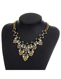 Fashion Black Diamond Decorated Color Matching Geometric Shape Necklace