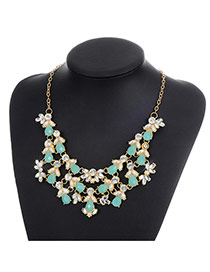 Fashion Green Water Drop Diamond Decorated Hollow Out Simple Necklace