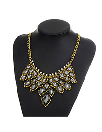 Fashion Gun Black Water Drop Diamond Decorated Color Matching Simple Necklace