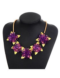 Fashion Purple Color Matching Decorated Flower Shape Simple Necklace
