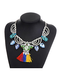 Fashion Multi-color Long Tassel Pendant Decorated Color Matching Necklace