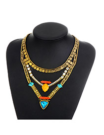 Fashion Gold Color Triangle Shape Diamond Decorated Color Matching Necklace