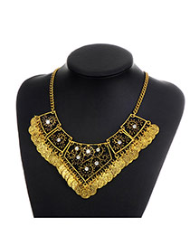 Fashion Gold Color Coins Pendant Decorated Hollow Out Design Necklace