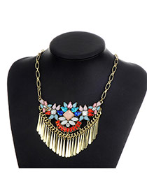 Fashion Multi-color Tassel Pendant Decorated Color Matching Necklace