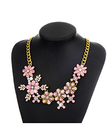 Fashion Pink Flower Decorated Color Matching Simple Necklace