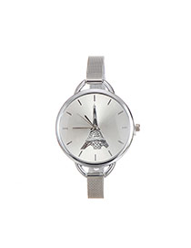 Fashion Silver Color Iron Tower Pattern Decorated Round Dial Watch