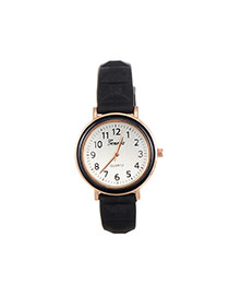 Fashion Black Color Matching Decorated Round Dail Simple Watch