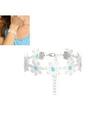 Fashion Blue Flower Decorated Color Matching Simple Bracelet