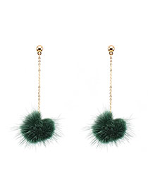 Fashion Green Earrings Decorated With Fuzzy Ball