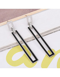 Fashion Silver Color Metal Long Square Decorated Simple Earrings