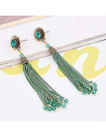 Retro Green Round Shape Decorated Long Tassel Design Simple Earrings