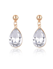 Elegant Gold Color Oval Shape Diamond Decorated Simple Earring