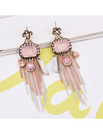 Retro Red Geometric Shape Diamond Decorated Simple Tassel Earrings