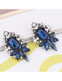 Elagent Blue Geometric Shape Diamond Decorated Simle Earrings