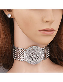 Exaggerated Silver Color Round Shape Diamond Decorated Simple Wide Jewelry Sets