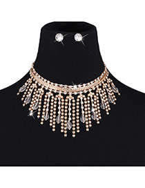 Exaggerated Gold Color Pure Color Decorated Multilayer Jewelry Sets