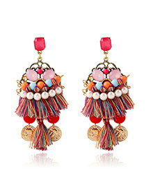 Bohemia Multi-color Metal Coin Shape &tassel Pendant Decorated Simple Earrings