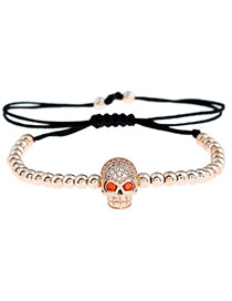Personality Rose Gold Skull Shape Decorated Simple Pure Color Design Bracelet