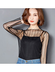 Sexy Black Pure Color Decorated Hollow Out Long Sleeve Smock